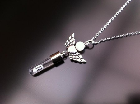 angel heart wings mother pearl rice charm on chain