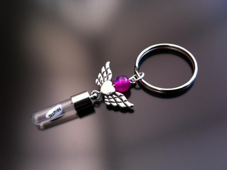 angel heart wings pink agate rice charm key ring