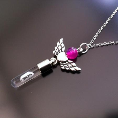 engel hjerte vinger pink agat ris charme på kæde