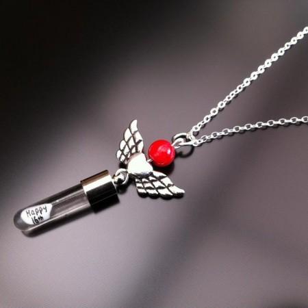 ailes de coeur d'ange corail rouge charme de riz sur la chaîne