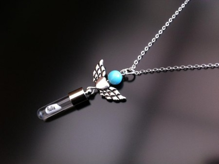 angel heart wings turquoise rice charm on chain