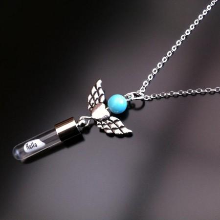 angel hartvleugels turquoise rijst charme op ketting