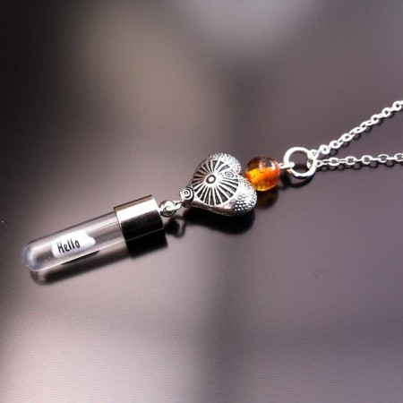 antique heart amber rice charm on chain