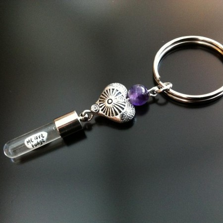 antique heart amethyst rice charm key ring