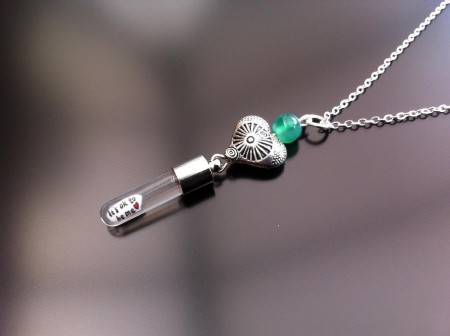 antique heart green agate rice charm on chain