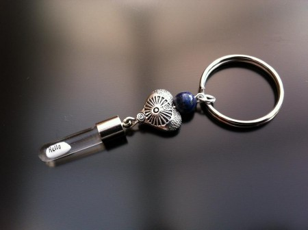 antique heart lapis rice charm key ring