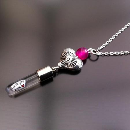 cuore antico agata rosa fascino riso sulla catena