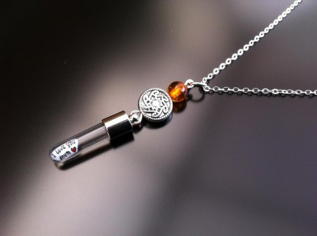 celtic amber rice charm on chain