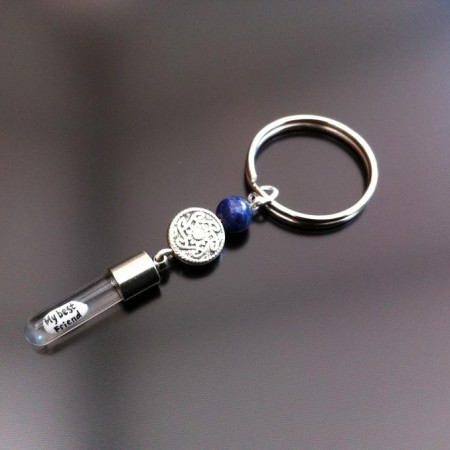 celtic lapis rice charm key ring