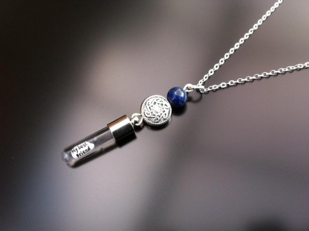 celtic lapis rice charm on chain