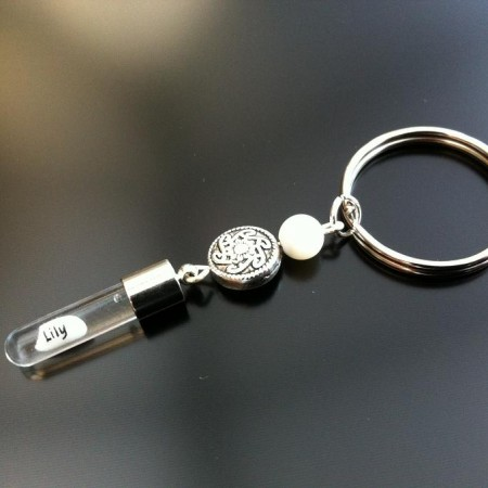 celtic mother of pearl rice charm key ring