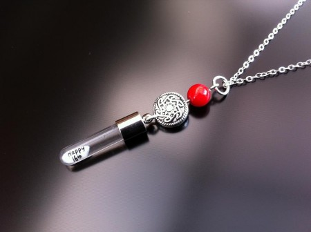 celtic red coral rice charm on chain