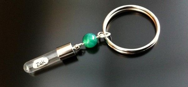 green agate rice charm key ring