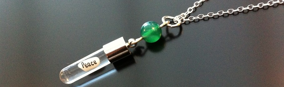 Green Agate Rice Charm on Chain
