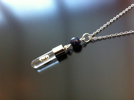 lapis rice charm on chain