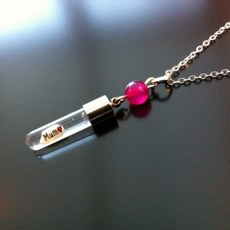 Pink Agate Rice Charm on Chain