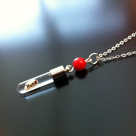 Red Coral Rice Charm on Chain