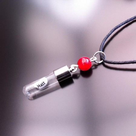 Red Coral Rice Charm on Waxed Cord