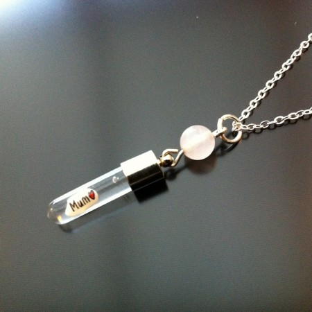 Rose Quartz Rice Charm on Chain