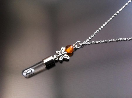 silver butterfly amber rice charm on chain
