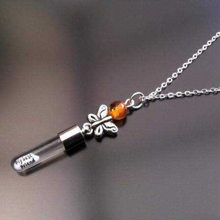 argento farfalla ambra fascino riso sulla catena