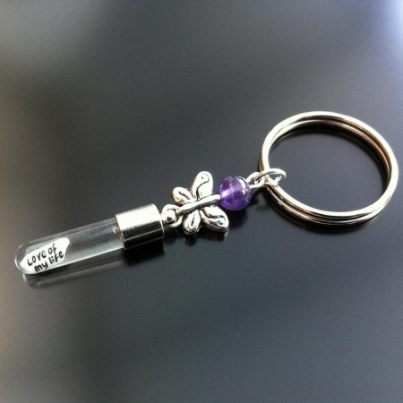 silver butterfly amethyst rice charm key ring