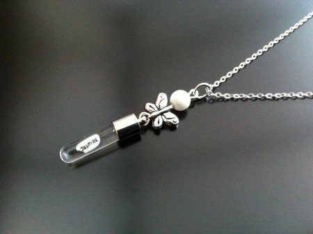 silver butterfly mother pearl rice charm on chain
