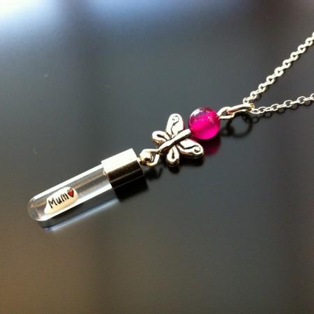 sølv sommerfugl lyserød agat ris charme på kæde