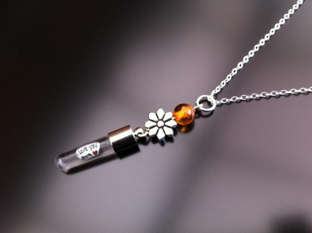 silver flower amber rice charm on chain