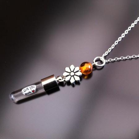 srebrny kwiat bursztynu ryż urok na łańcuchu