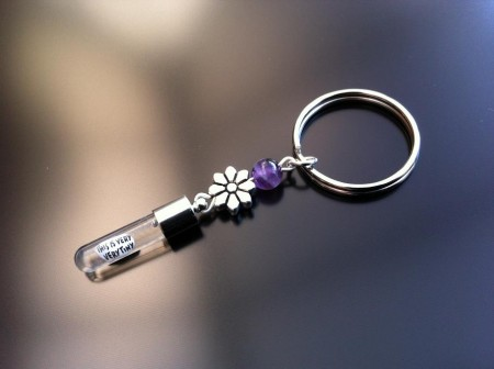 silver flower amethyst rice charm key ring