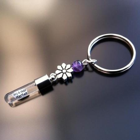 portachiavi d'argento fascino riso fiore ametista