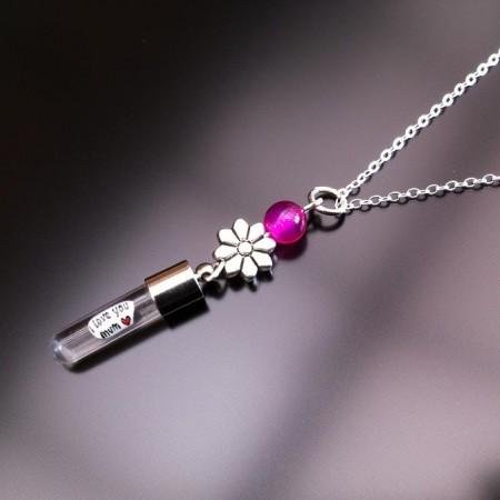 チェーン上の銀の花ピンクの瑪瑙米の魅力