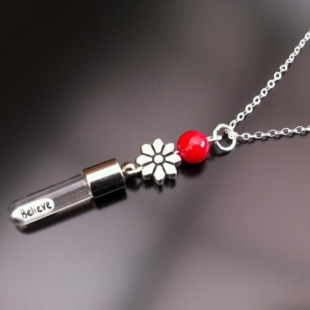 silver flower red coral rice charm on chain