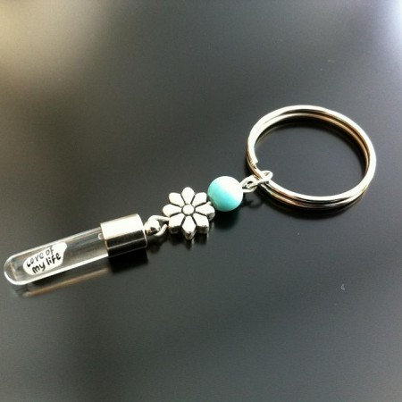 Rice Charm key ring - turquoise - flower