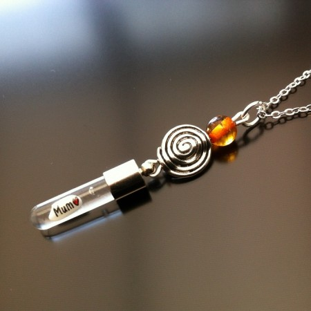 spiral amber rice charm on chain