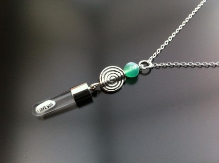 spiral green agate rice charm on chain