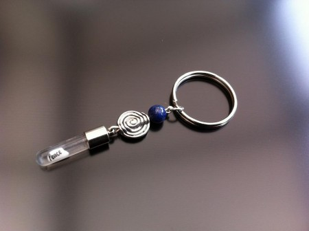 spiral lapis rice charm key ring