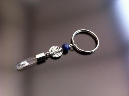 spiral lapis rice charm key ring