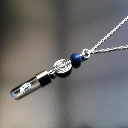 spiral lapis rice charm on chain