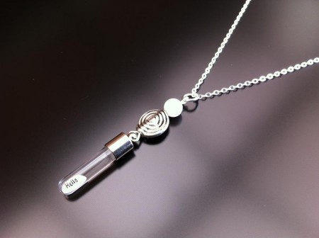 spiral mother of pearl rice charm on chain