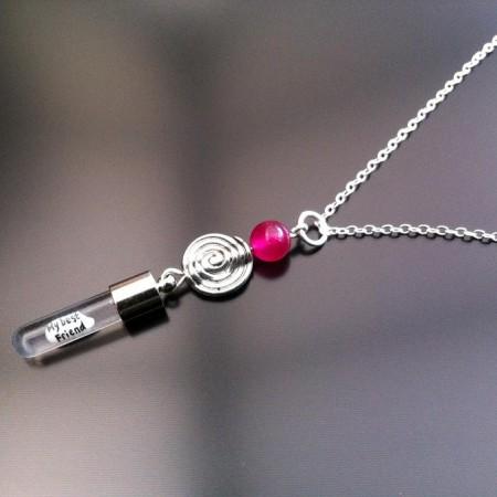 spiral pink agat ris charm den kæde