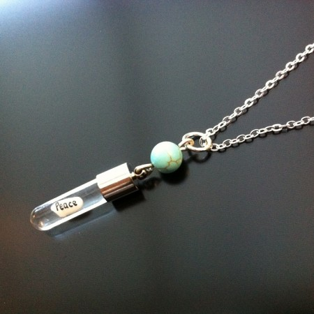 Turquoise Rice Charm on Chain