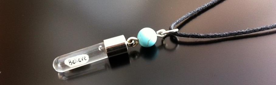 Turquoise Rice Charm on Waxed Chord