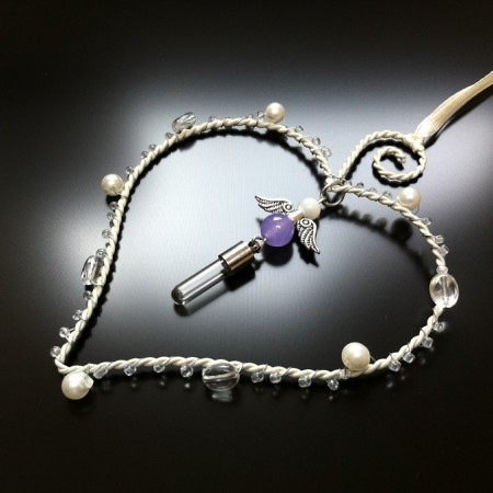 heart frame angel rice charm with lilac jade and mother of pearl gem large image