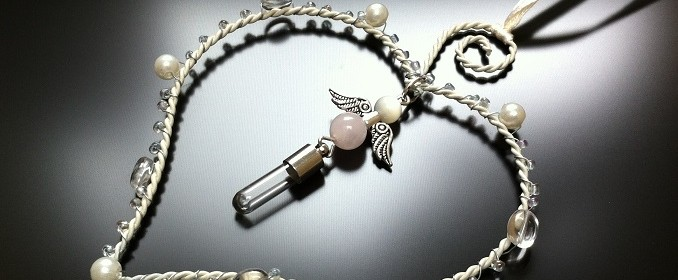 heart frame angel rice charm with rose quartz and mother of pearl