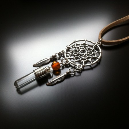 dream catcher - rice charm - amber gem