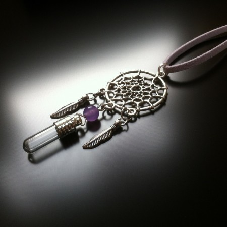dream catcher - rice charm - amethyst gem