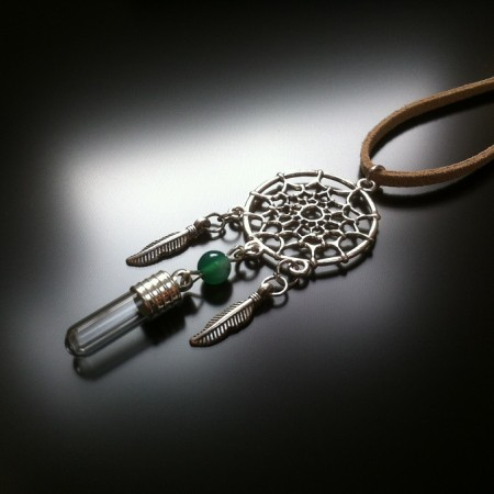 dream catcher - rice charm - green agate gem