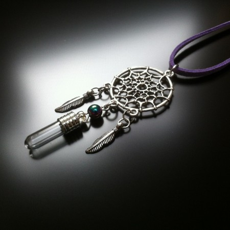 dream catcher - rice charm - rainbow hematite gem